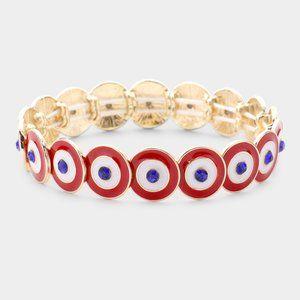 Multi Round Color Block Stretch Bracelet- Red